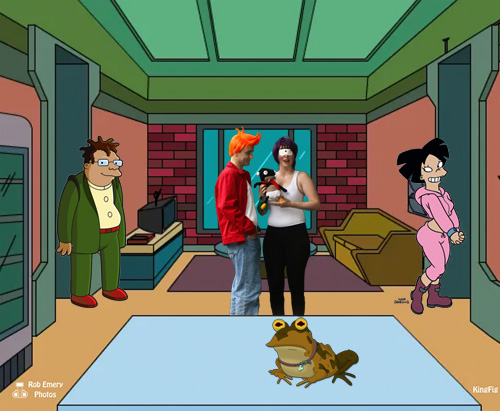 Fry with Leela & Nibbler